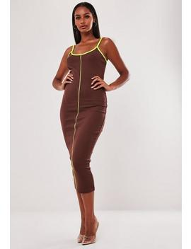 Chocolate Rib Neon Contrast Piping Strappy Midi Dress by Missguided