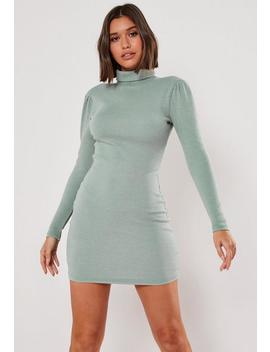 Blue Heavy Rib Roll Neck Mini Dress by Missguided