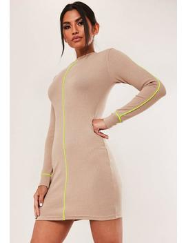 Stone Rib Neon Piping High Neck Mini Dress by Missguided