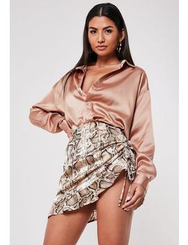 Petite Brown Snake Print Satin Ruched Mini Skirt by Missguided