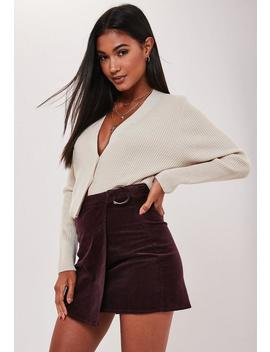 Deep Red Wrap Over Cord Mini Skirt by Missguided