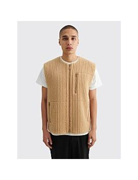 Homme Plissé Issey Miyake Pleated Fleece Vest Beige by Très Bien