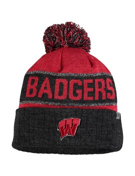 Wisconsin Badgers Top Of The World Below Zero Cuffed Pom Knit Hat   Red/Heather Black by Top Of The World