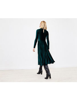 Pleated Velvet Midi Dress by Oasis