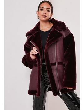 Tall Wine Faux Fur Aviator Jacket by Missguided