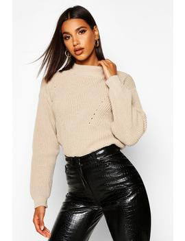 Open Knit Turtle Neck Jumper by Boohoo