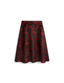 Red And Black Rose Print Midi Skirt by Primark