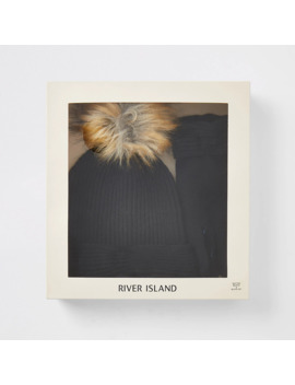 Black Twisted Knit Beanie And Glove Boxed Set by River Island