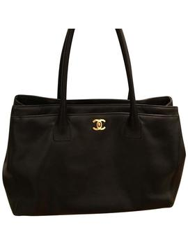 Cerf Black Leather Tote by Chanel