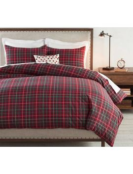 Lynbrook Plaid Cotton Duvet Cover, Full/Queen, Red Multi by Pottery Barn