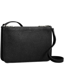 Triple Zip Grainy Black Leather Cross Body Bag by Burberry