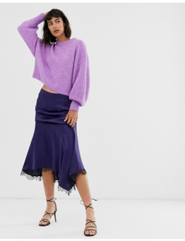 &-other-stories-round-neck-balloon-sleeve-sweater-in-violet by &-other-stories