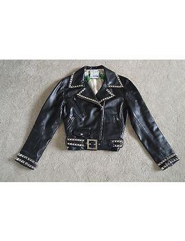 Moschino Black Leather Peace Silver Studded Biker Jacket Coat Womens It46 Uk 12 by Moschino