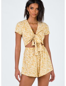 Sweet Sahara Tie Front Playsuit Yellow Floral by Princess Polly