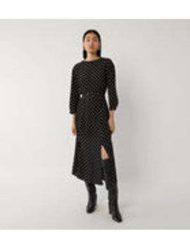 Belted Batwing Midi Spot Dress by Warehouse