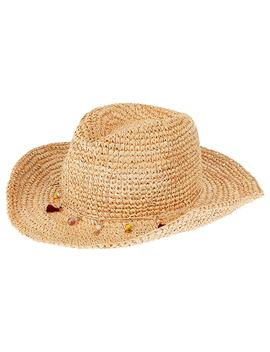 Tassel &Amp; Bead Trim Stetson Straw Hat by Accessorize