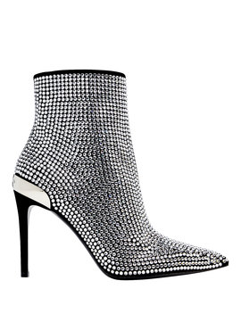 Crystal Embellished Leather Booties by Balmain