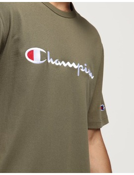 Champion Heritage Script Tee Forest Green by Champion