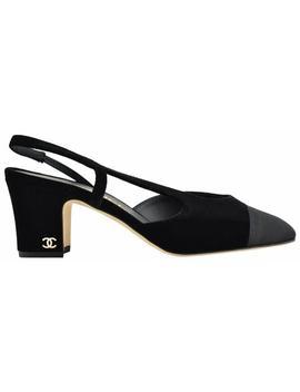 Black Mademoiselle 17a Velvet Coco Slingback Sling Heel Sandal Pumps by Chanel
