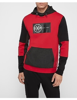 Red Color Block Exp Graphic Hoodie by Express