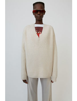 Rib Knit Sweater Off White by Acne Studios