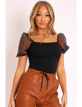 Black Square Neck Puff Sleeve Bodysuit   Kataliya by Rebellious Fashion