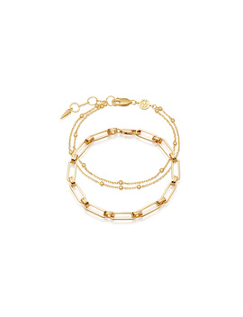 Gold Aegis Double Chain Bracelet Set by Missoma