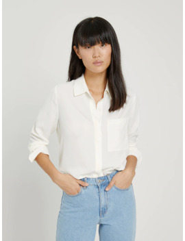 Button Up Blouse In White by Frank & Oak