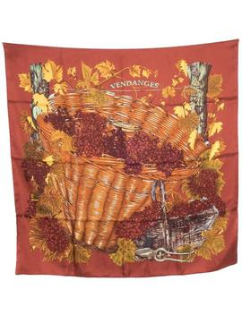 Red Dusty 'vendanges' Square Silk Scarf/Wrap by Hermès