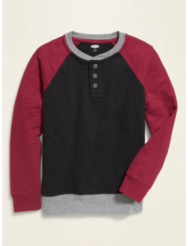 Color Blocked Thick Knit Henley For Boys by Old Navy