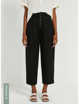 Linen Tencel® High Waisted Buttoned Pants In Black by Frank & Oak