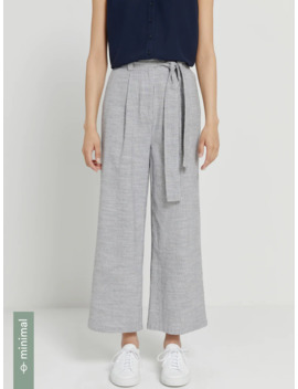 Good Cotton Striped Wide Leg Pants In Black by Frank & Oak
