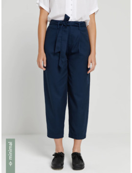Cotton Tencel® Lyocell Belted Pleated Pants In Blue by Frank & Oak