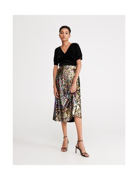 Skirt With Reversible Sequin Detail by Reserved