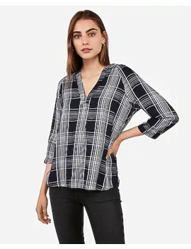 Deep V Neck Plaid Top by Express