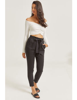 Belted Paper Bag Pants by Ardene
