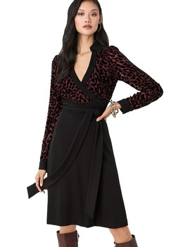 Multicolor Wendy Velvet Burnout Warp  Cocktail Dress by Diane Von Furstenberg