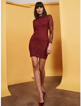 Maroon Lace Sheath Dress by New York & Company