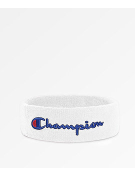 Champion Terry Logo White Headband by Zumiez