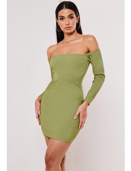 Premium Olive Bandage Bardot Mini Dress by Missguided