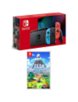 Nintendo Switch Neon (Improved Battery) With The Legend Of Zelda: Link's Awakening And Game Exclusive Microfibre Cleaning Cloth by Game