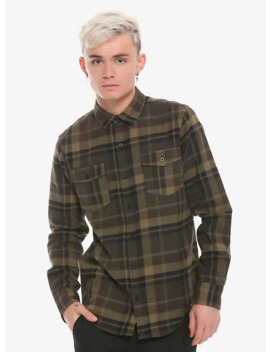 Olive Plaid Woven Button Up by Hot Topic