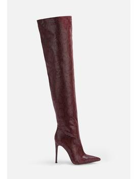 Burgundy Faux Snake Over The Knee Boots by Missguided