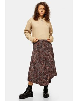 Brown Animal Textured Pleated Skirt by Topshop