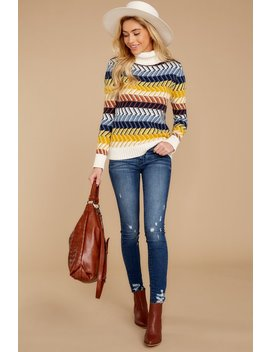 Gaining Traction Blue Multi Knit Turtleneck Sweater by Lovestitch
