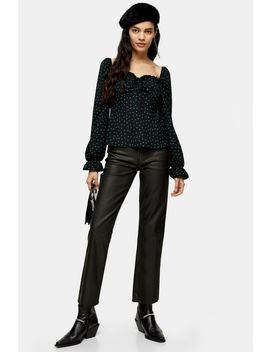 Black Coated Raw Hem Straight Jeans by Topshop