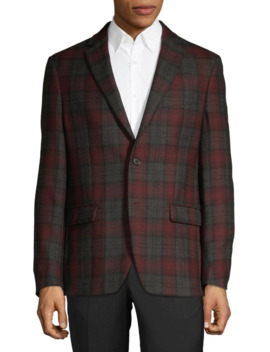 Wool Blend Notch Lapel Check Blazer by Lauren Ralph Lauren