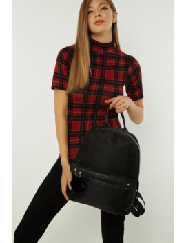 Black Nylon Pom Backpack by Select