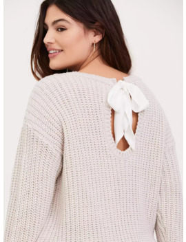 Ivory Cable Knit Back Self Tie Keyhole Sweater by Torrid