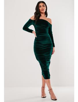 Green Velvet Ruched Bardot Midi Dress by Missguided